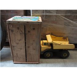Apple Crate & Large Metal Tonka Truck