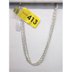 "3 New Sterling Silver 16"" Ocean Link Chains"