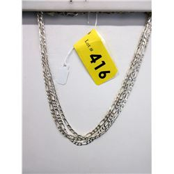 "3 New Sterling Silver 16"" Figaro Link Chains"