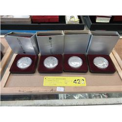 Four 1983 Canadian 50% Silver Proof Dollar Coins