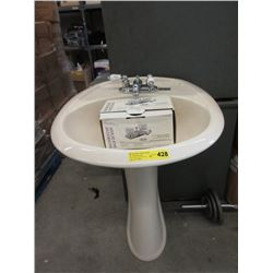 New Beige Porcelain Pedestal Sink with Tap