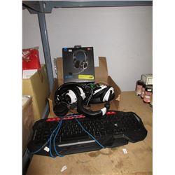 Gaming Keyboard & 7 Gaming Headsets