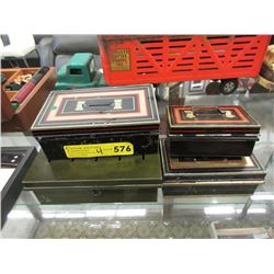 4 Vintage Tin Money Boxes