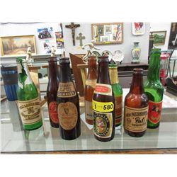 8 Vintage Glass Beverage Bottles