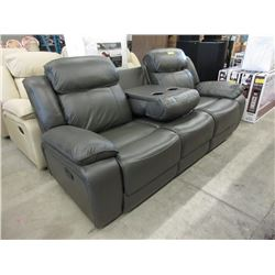 New 7 Foot Grey Leather Theater Sofa