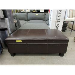 New Brown Leather Stylus Storage Ottoman