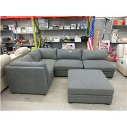 5 Piece Grey Fabric Modular Sectional Sofa