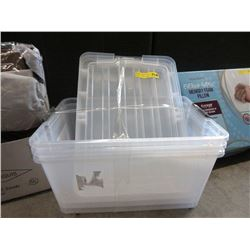 3 New Clear Totes with Lids