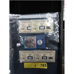 Four .999 Fine Silver 1 Gram Bars & 1 Koala Coin