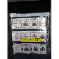Nine .999 Fine Silver 5 Grain Collector Bars