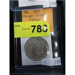 1886 USA Morgan Silver Dollar Coin - .900 Silver