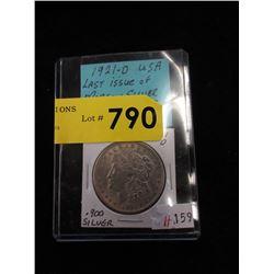 1921 USA Morgan Silver Dollar Coin - .900 Silver