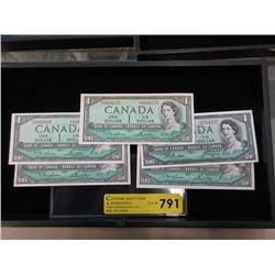 Five 1954 Mint Uncirculated Canadian $1 Bills