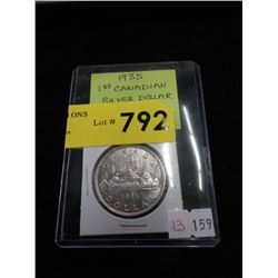 1935 Canadian 1st Silver Dollar Coin - .800 Silver