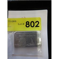 1 Troy Ounce .999 Fine Silver 1986 Christmas Bar