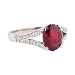 3.02 ctw Ruby And Diamond Ring - Platinum
