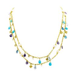 "David Yurman ""Briola"" Pearl, Iolite, Blue Topaz and Turquoise Necklace - 18KT Ye"