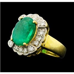 4.80 ctw Emerald And Diamond Ring - 14KT Yellow Gold With Rhodium Plating
