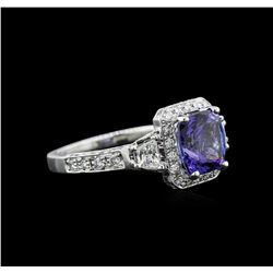 2.62 ctw Tanzanite and Diamond Ring - 14KT White Gold