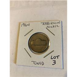1964 Jefferson Nickel Toned High Grade