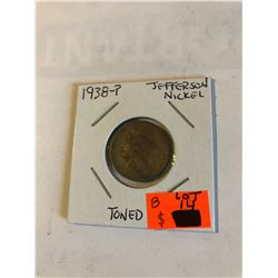 1938 P 1st Year Jefferson Nickel Toned High Grade