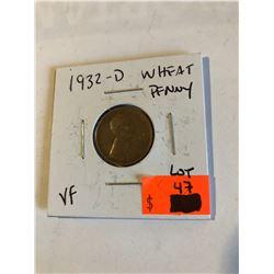 1932 D Rare Key Date Lincoln Wheat Penny in Very Fine Grade