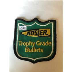 """RARE Vintage Outdoors """"NOSLER TROPHY GRADE BULLETS"""" Patch in Like New Condition"""