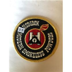 """RARE Vintage Outdoors """"HODGDON MODERN SMOKELESS POWDERS"""" Patch in Like New Condition"""