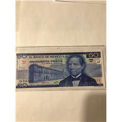 1973 Banco De Mexico Juarez CINCUENTA PESOS 50 Crisp Uncirculated Note-Really Nice