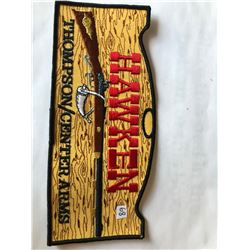 """RARE VERY LARGE Vintage Outdoors """"HAWKEN THOMPSON CENTER ARMS"""" Patch in Like New Condition"""