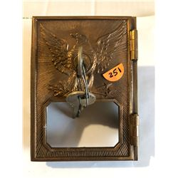 RARE 1892-1895 US Post Office Federal Eagle Yale Metal Box Door with Key in Excellent Condition