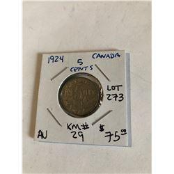 1924 Canada 5 Cents Rare AU High Grade