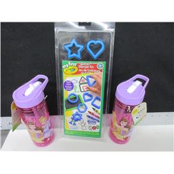 2 New Girls Beverage Bottles and Crayola Stamper Kit