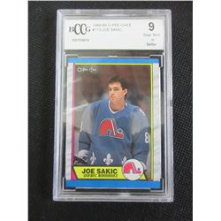 Joe Sakic Rookie Card  O PEE CHEE 1989/90 # 113 graded 9 near mint