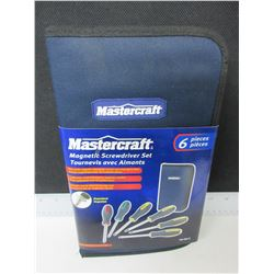 New Mastercraft Magnetic Screwdriver set with zippered nylon case 6pc.