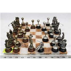 GOLF THEME CHESS SET WITH MARBLE CHESS BOARD