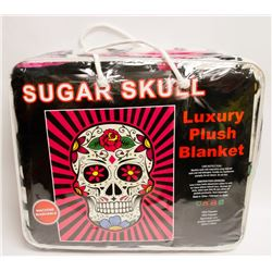 "NEW! ""SUGAR SKULL"" LUXURY PLUSH BLANKET (QUEEN)"