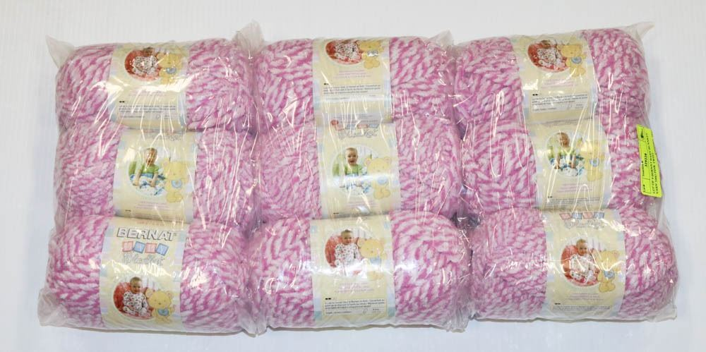 LOT OF 9 BERNAT BABY BLANKET YARN 100G PINK TWIST
