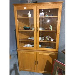 Corner tall oak china cabinet