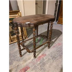 Walnut victorian tea table w/glass shelf 6 legs