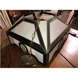 Tiffany stained lead glass pool table lamp