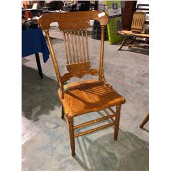5 matching oak banjo back chairs