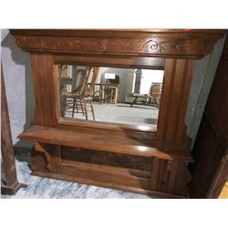 Walnut and birds eye hall mirror/shelf