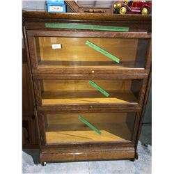 1800's oak 3 glass door bookcase