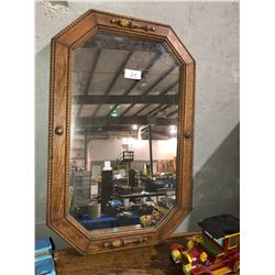 Oak mirror w/maple leaf register & toy car