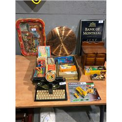 Old parlor games, puzzles, antique typewriter, coca cola TV tray, jello collectibles