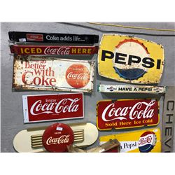 10 rare Coke and Pepsi signs (one Coke and one Pepsi porcelain sign) and a Chevrolet sign