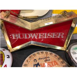 Budweiser electric beer sign 1960's, Dr. Pepper clock 60's, plus Government signs, MF, clocks