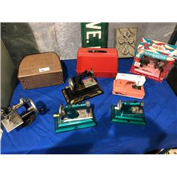 8 Miniature sewing machines, Euromad, Pfaff, etc.