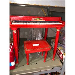 Musical instruments including 1930's metal toy piano w/wood, bench, German made flutes, harmonicas,
